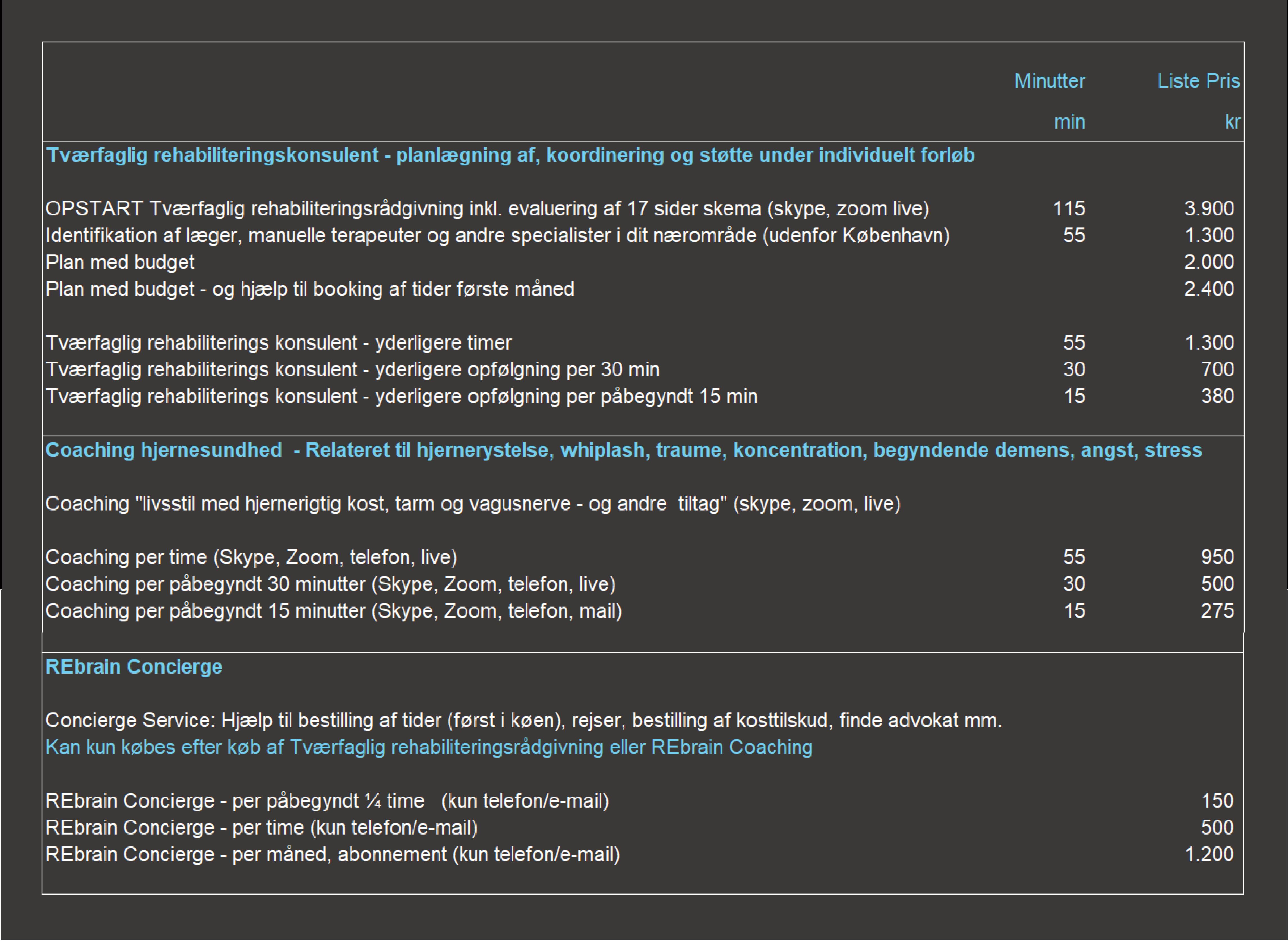 Priser på OPSTART for hjernerystelse whiplash nakkeskade (start pakker inkl. evaluering af syns og herneaktivitet).